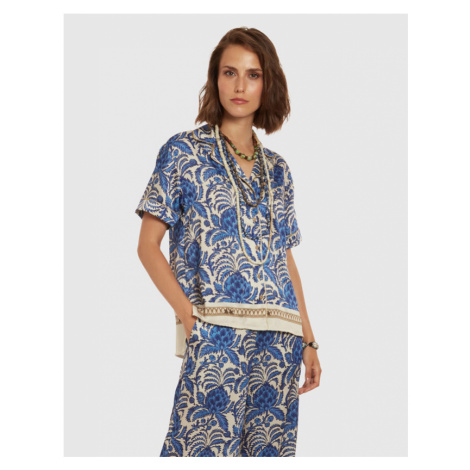 Halenka La Martina Woman Shirt Short Sleeves Prin - Modrá