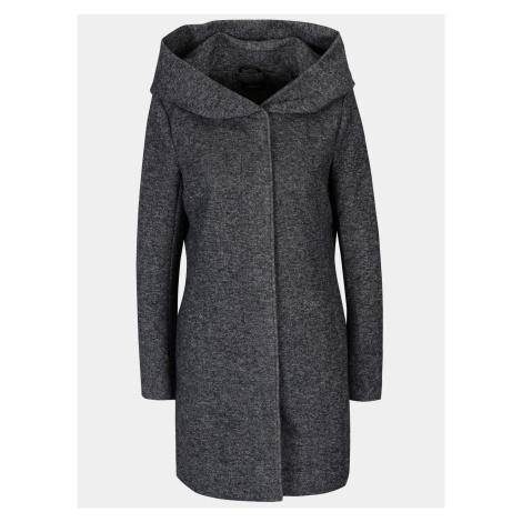 Tmavě šedý žíhaný lehký kabát s kapucí ONLY Sedona