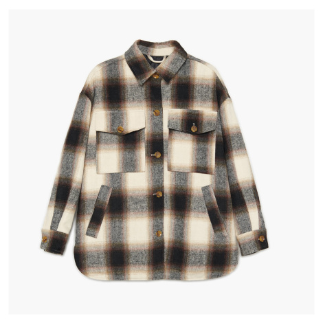 Cropp - Kostkovaná košilová bunda - Černý