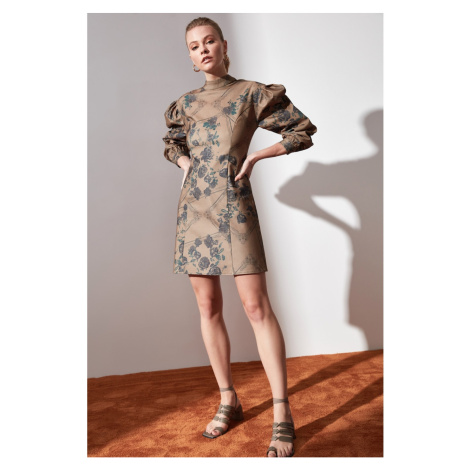 Trendyol Camel Patterned Sheer Neckline Dress