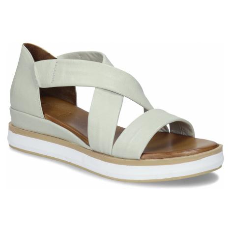 Dámské kožené sandály na silnější podešvi v jemně šedé barvě Baťa