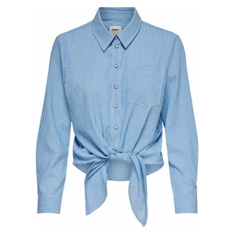 ONLY Dámská košile ONLLECEY LS STRIPE KNOT DNM SHIRT Cloud Dancer MEDIUM BLUE