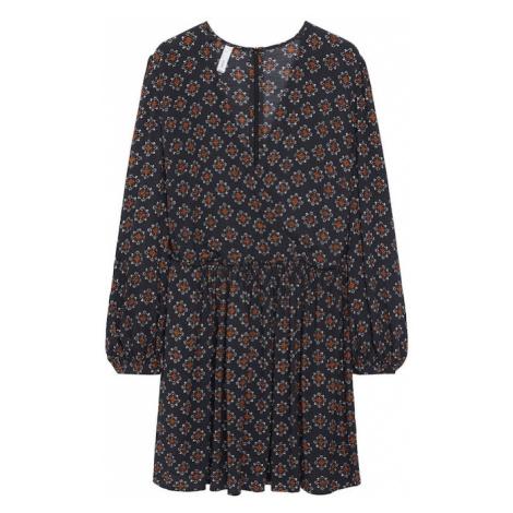 MANGO Šaty 'Africa' černá / bílá / hořčicová