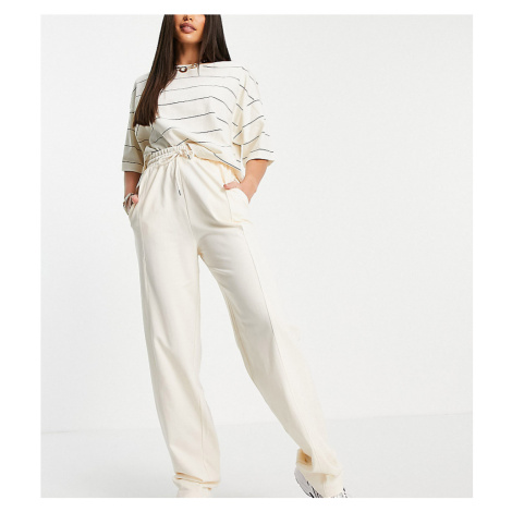 ASOS DESIGN Tall straight leg jogger with deep waistband and pintuck in organic cotton in cream-