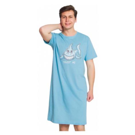 Pánská noční košile s krátkým rukávem Vienetta Secret Žralok   světle tyrkysová