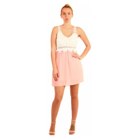 Dvoubarevné šaty s krajkovými zády