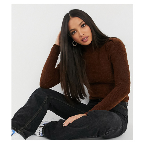 ASOS DESIGN Tall ribbed jumper with puff shoulder in brown-Tan