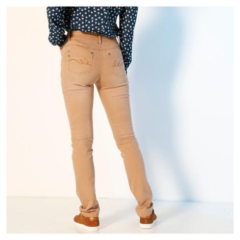 Blancheporte Rovné barevné džíny karamelová