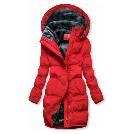 Červená zimní bunda s plyšovou podšívkou Butikovo