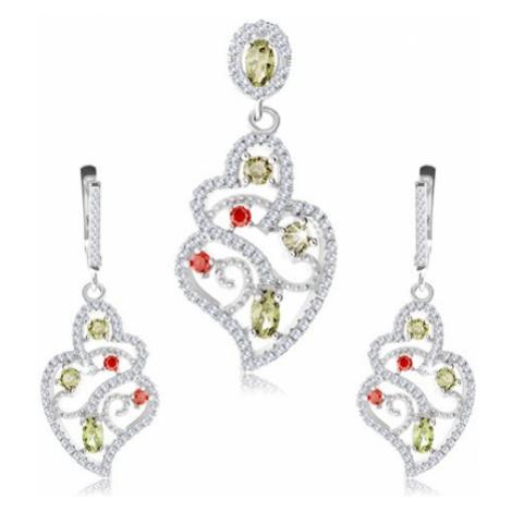 Stříbrná sada 925, přívěsek a náušnice, čirý ornament, barevné zirkony Šperky eshop