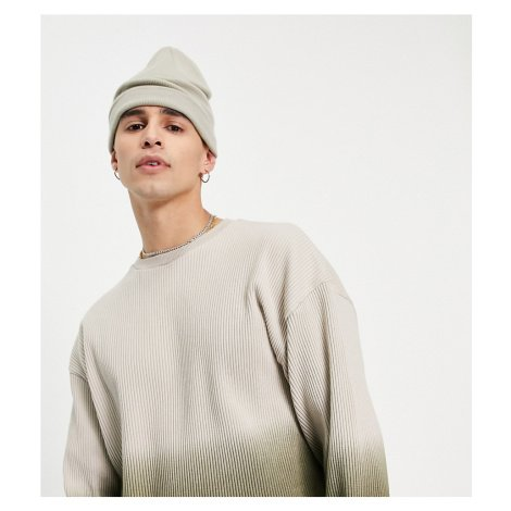 COLLUSION oversized long sleeve rib t-shirt in khaki ombre-Green