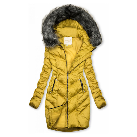 Prošívaná zimní bunda hořčicově žlutá Butikovo