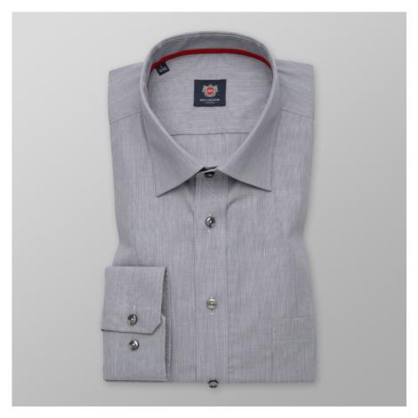 Pánská košile Slim Fit světle šedá s jemným vzorem 12285 Willsoor