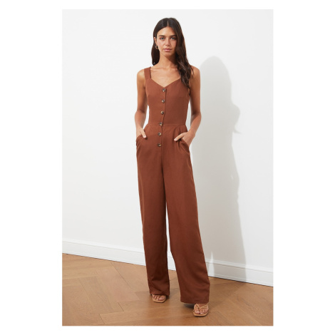 Trendyol Brown Buttoned Overalls