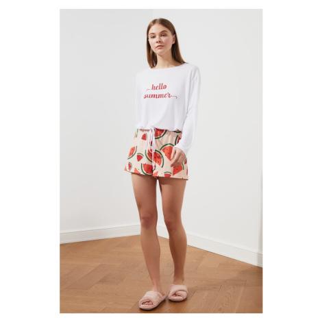 Trendyol Watermelon Pattern Knitted Pyjama Set