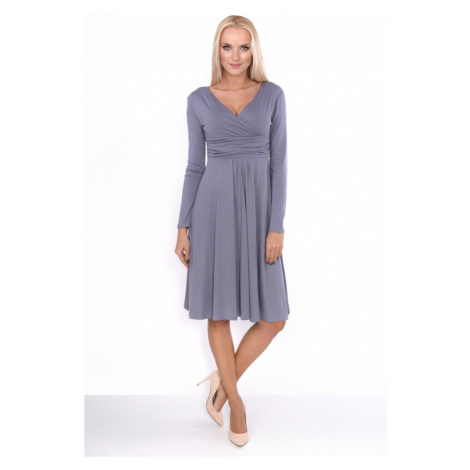 Delší vycházkové šaty s dlouhým rukávem barva šedá