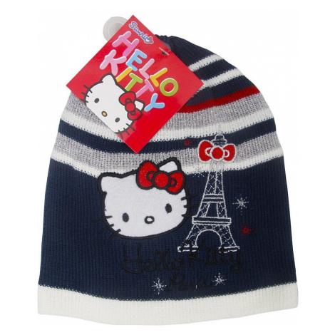 Hello kitty dívčí modrá pruhovaná čepice paris