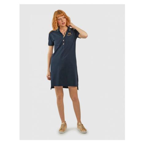 Šaty La Martina Woman S/S Dress Piquet No Stre - Modrá