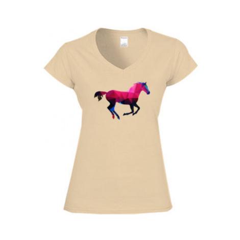 Dámské tričko V-výstřih Kůň z polygonů