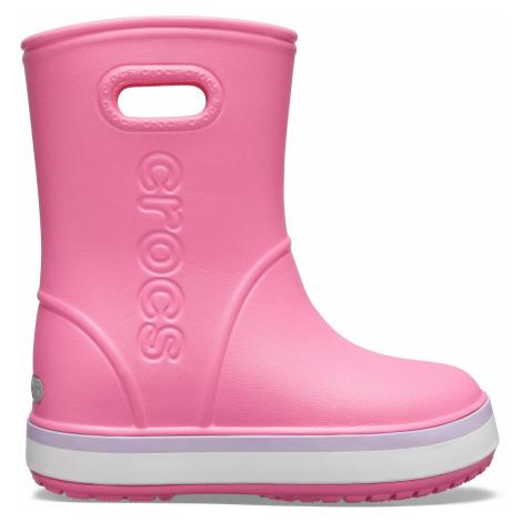 Crocs Crocband Rain Boot K Pink Lemonade/Lavender J3