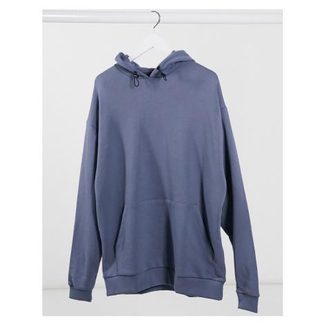 ASOS DESIGN oversized hoodie with black bungee cords in dark grey-Blue