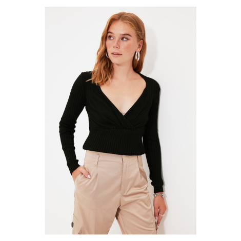 Trendyol Black Double Breasted Collar Knitwear Sweater