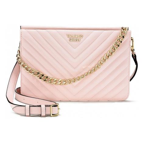 Victorias Secret luxusní růžová kabelka Pebbled V-Quilt Crossbody Victoria's Secret