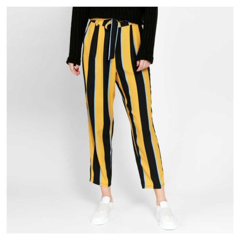 Pruhované společenské kalhoty s mašlí Ankle Pieces