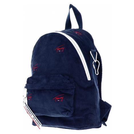 Tommy Hilfiger Tommy Jeans dámský modrý manšestrový batoh TJW LOGO TAPE MINI BACKPACK CORD