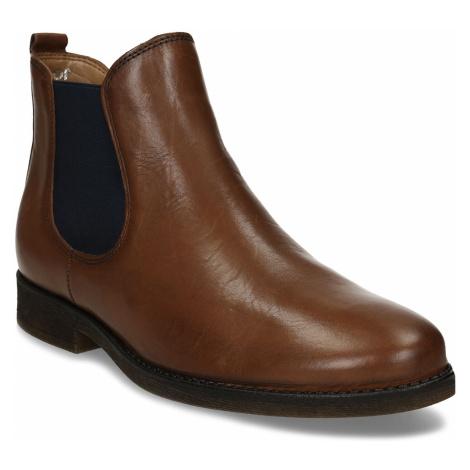 Dámská hnědá kožená Chelsea obuv s nízkým podpatkem Gabor