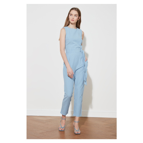 Trendyol Blue Belt Sleeveless Jumpsuit