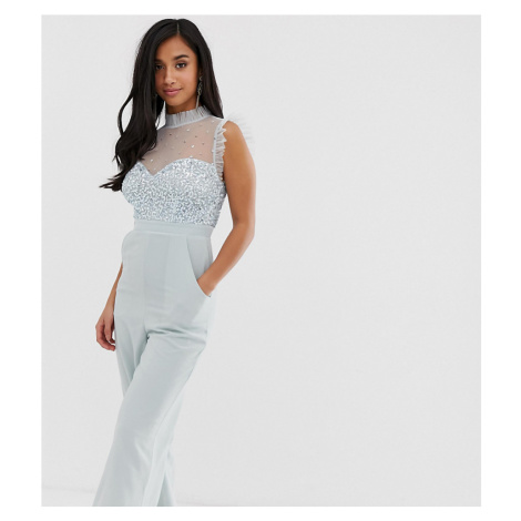 Maya Petite embellished bodice wide leg jumpsuit with satin trim in ice blue
