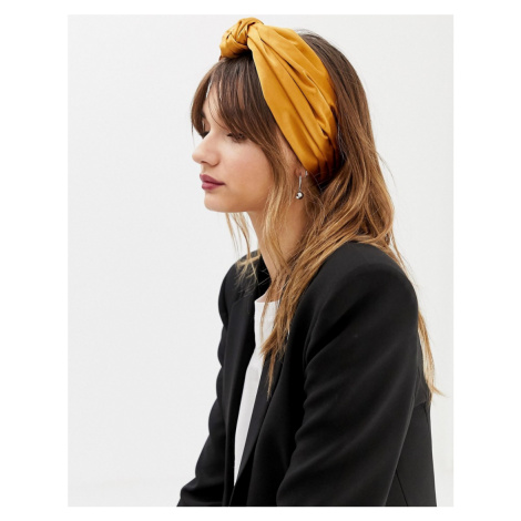 ASOS DESIGN knot front headscarf-Yellow