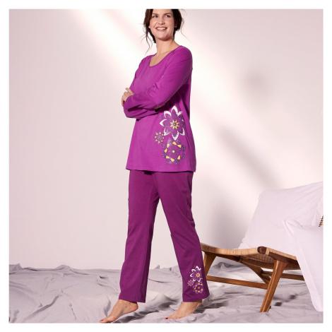 Blancheporte Pyžamo s kalhotami a potiskem rozet purpurová