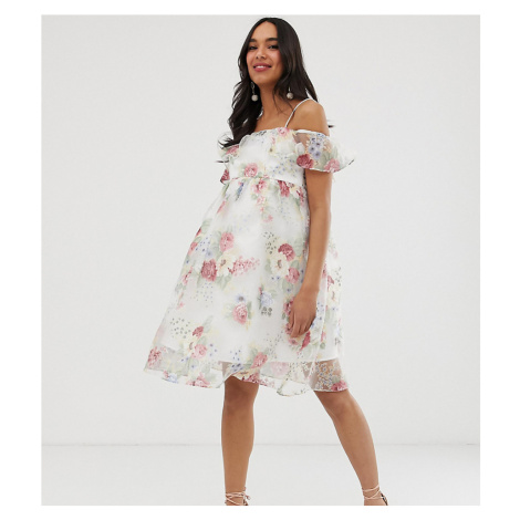 Chi Chi London Maternity bardot overlay floral dress with frill in cream-Multi