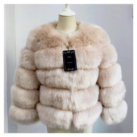 Módní kožešinová bunda chlupatý umělý kožich s dlouhým rukávem