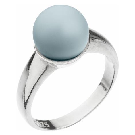 Evolution Group Stříbrný prsten s perlou pastelově modrý 35022.3