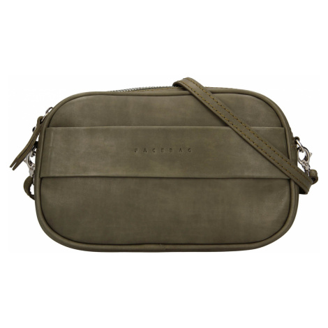 Trendy dámská kožená ledvinko crossbody kabelka Facebag - olivová
