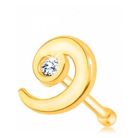 Piercing do nosu ze zlata 375 - lesklá spirála ozdobená zirkonem čiré barvy Šperky eshop
