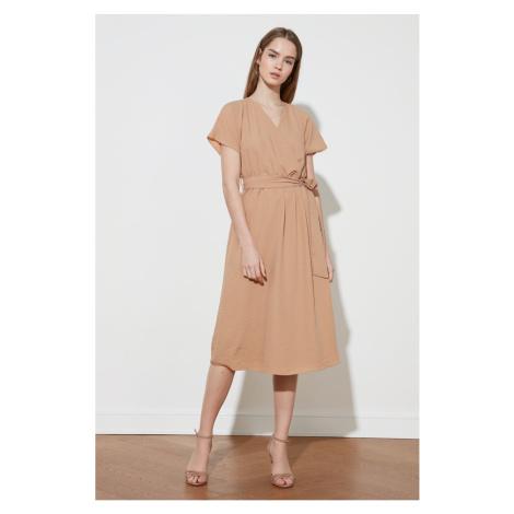 Trendyol Camel Belt Cruise Collar Dress