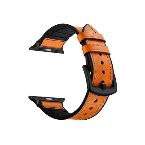 Eternico 42mm / 44mm / 45mm Leather and Silicone Band pro Apple Watch oranžový