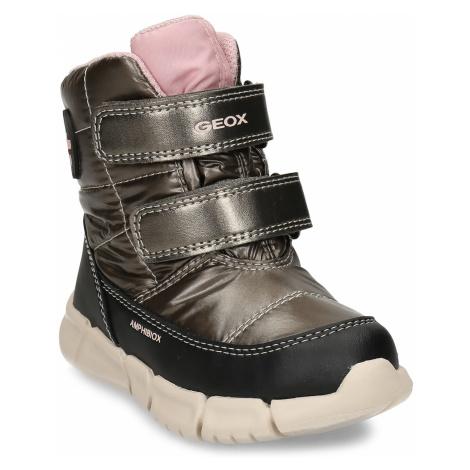 Bronzová dívčí zimní obuv s robustní podešví Geox