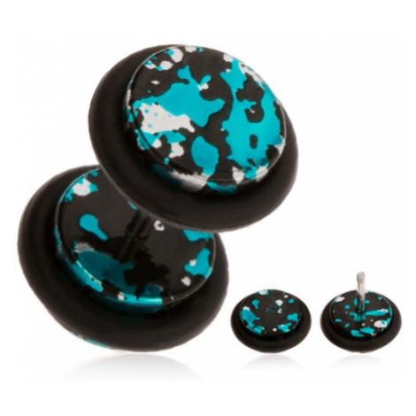 Fake piercing do ucha z akrylu - skvrny černé, stříbrné a tyrkysové barvy Šperky eshop