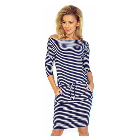 Dámské šaty Numoco 13-51 proužek   modrá