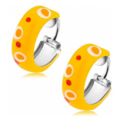 Stříbrné náušnice 925, kruhy, žlutá glazura, červené a oranžové tečky Šperky eshop