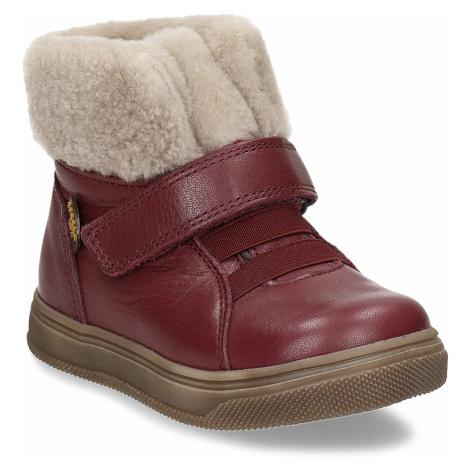 Dívčí vínová kožená kotníková zimní obuv s kožíškem Froddo