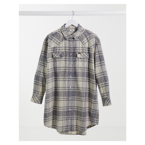 Wrangler oversized long check shirt in check-Multi