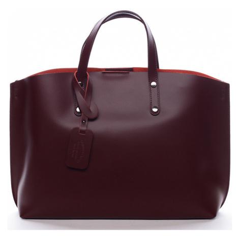 Italy Dámská kožená kabelka vínová - Jordana Červená