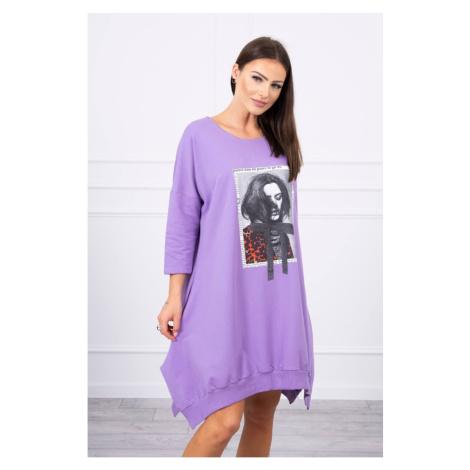 Dress with print and flared bottom purple Kesi
