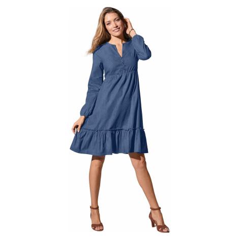 Blancheporte Volánové džínové šaty modrá